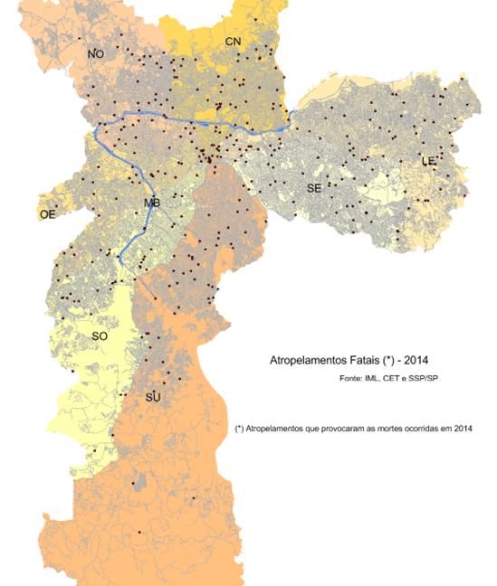 Mapeamento da ocorrência dos atropelamentos fatais – Relatório CET 2014
